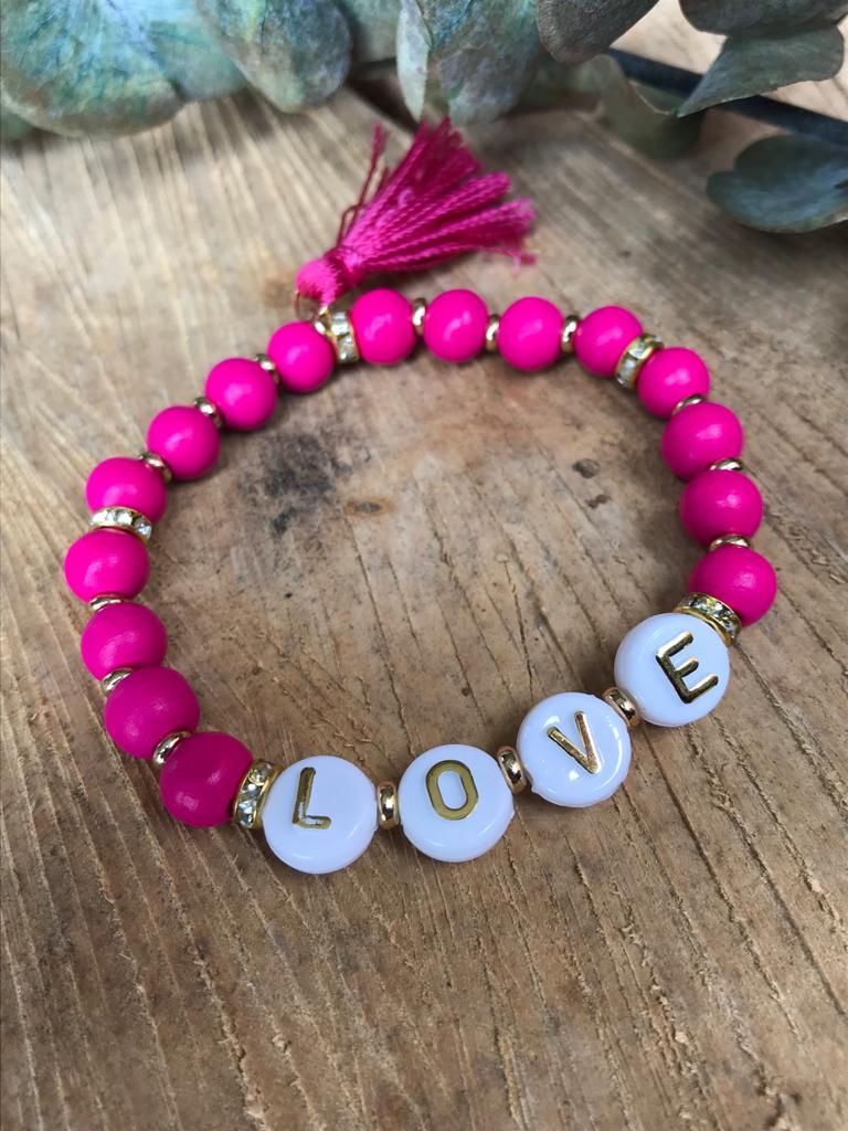 Perlenarmband LOVE pink